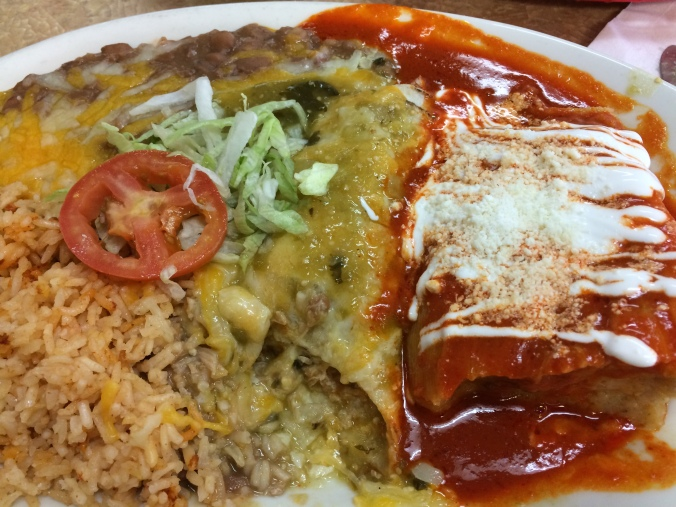A plate of chicken tamales and pork enchiladas at Ramirez Mexican store in Tumwater, Wash.