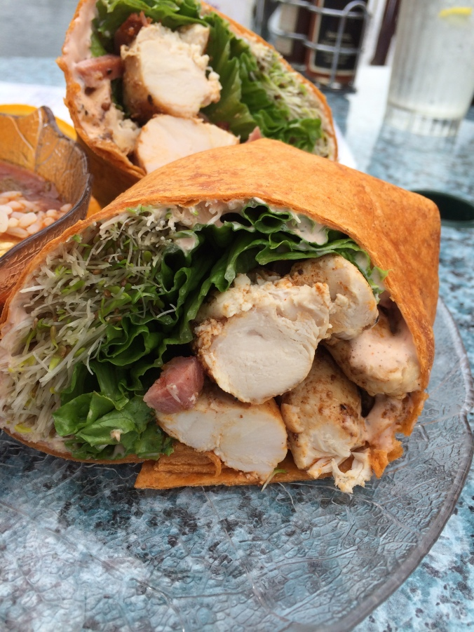blackened chicken wrap with cajun mayo and bean sprouts