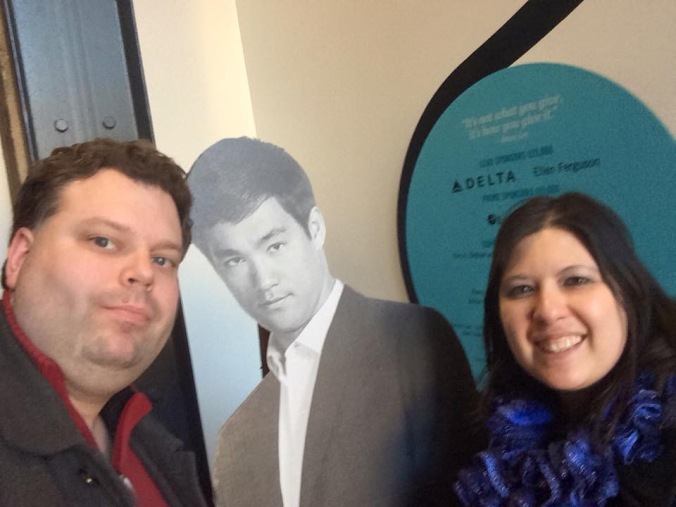 Me (left), My husband, Steven (right) with Cardboard Bruce Lee (center) at the Wing Luke Musem