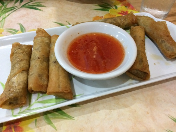 Lumpia at the Lanai Cafe. Though a traditional Filipino dish, the Lanai offers a Hawaiian take on the dish from the Philippine Islands